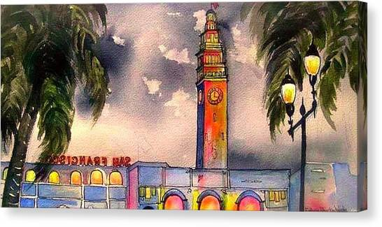 Evening Comes Ferry Building Canvas Print