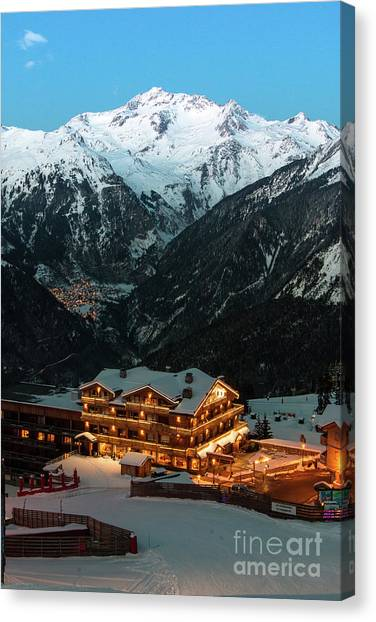 Evening Comes In Courchevel Canvas Print