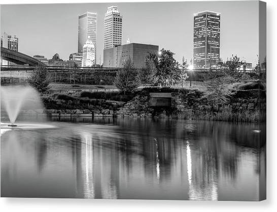Centennial Canvas Print - Evening Falls On Tulsa Skyline Black And White by Gregory Ballos