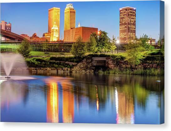 Centennial Canvas Print - Evening Falls On Tulsa Skyline by Gregory Ballos