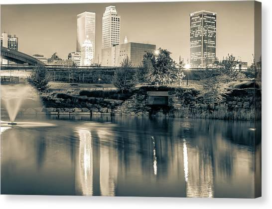Centennial Canvas Print - Evening Falls On Tulsa Skyline In Sepia by Gregory Ballos