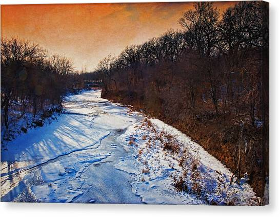 Evening Frozen Creek Canvas Print