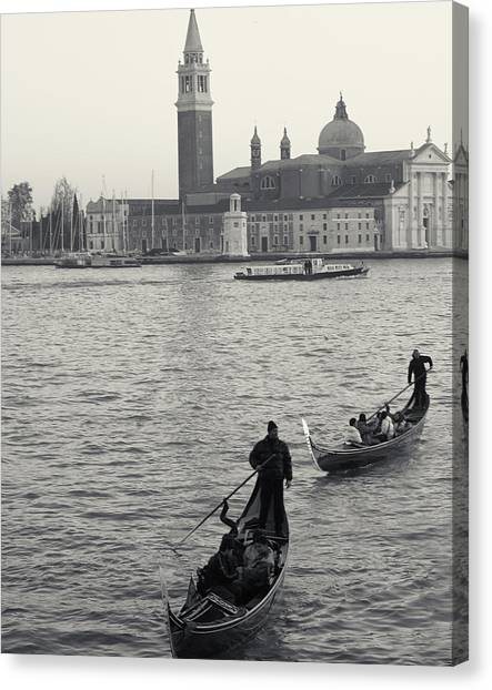 Evening Gondoliers, Venice, Italy Canvas Print
