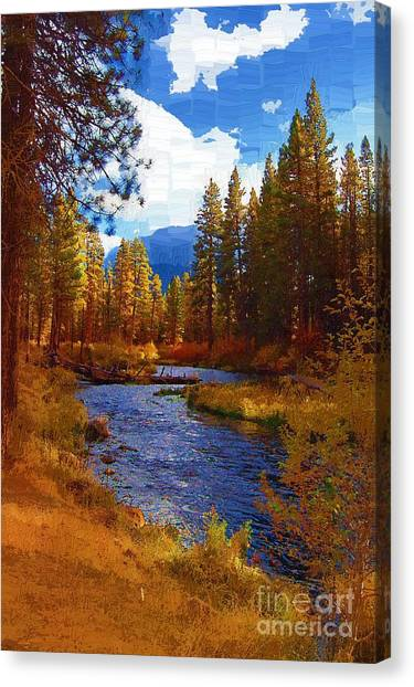 Evening Hatch On The Metolius River Painting 2 Canvas Print