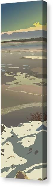 Evening Ice Glow Canvas Print by Marian Federspiel