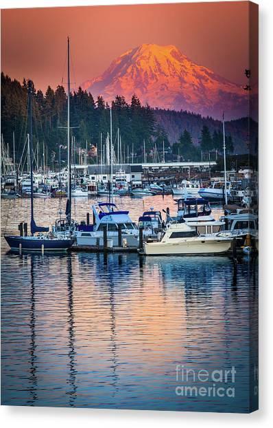 Mount Rainier Canvas Print - Evening In Gig Harbor by Inge Johnsson