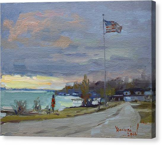 Waterfront Canvas Print - Evening In Gratwick Waterfront Park by Ylli Haruni