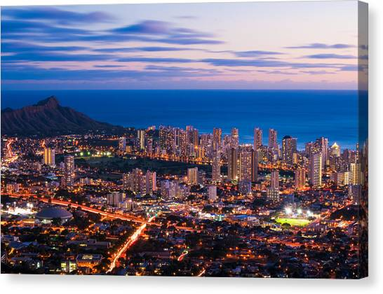 University Of Hawaii Canvas Print - Evening In Honolulu by Jason Chu