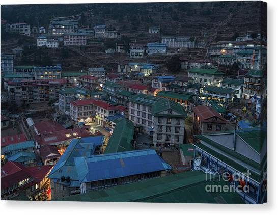 K2 Canvas Print - Evening In Namche Nepal by Mike Reid