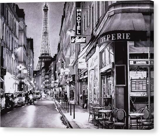 Ballpoint Pens Canvas Print - Evening In Paris - Ballpoint Pen Art by Andrey Poletaev