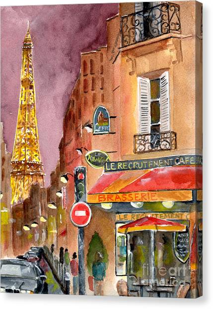Eiffel Tower Canvas Print - Evening In Paris by Sheryl Heatherly Hawkins