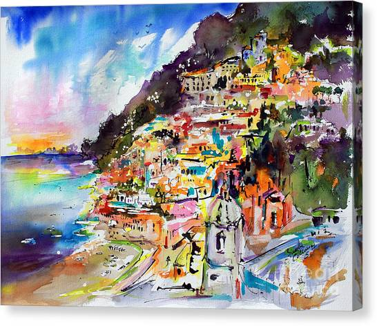 Evening In Positano Italy Canvas Print