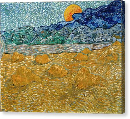 Canvas Print featuring the painting Evening Landscape With Rising Moon by Van Gogh