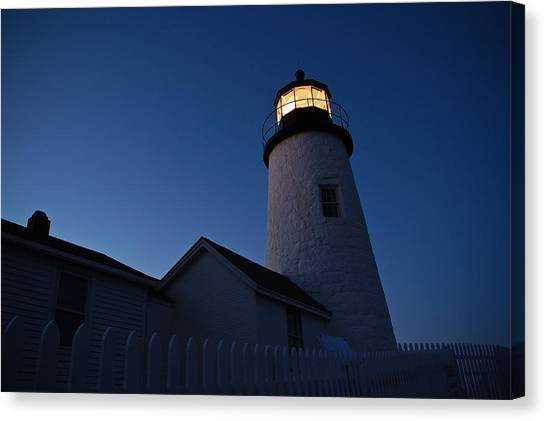 Evening Lighthouse Pemequid Point Me Canvas Print by Richard Danek
