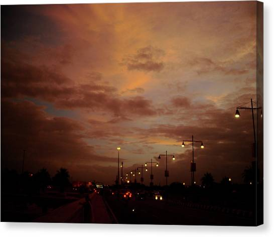Evening Lights On Road Canvas Print