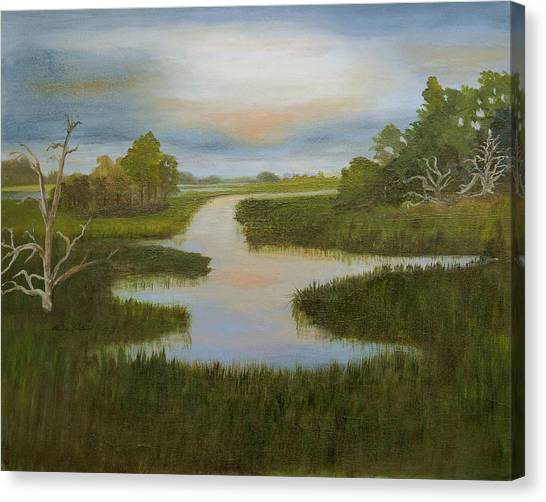 Evening Marsh Canvas Print by Shirley Lawing