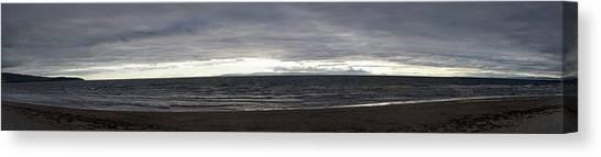 Evening Panoramic Ayr Beach, Scotland Canvas Print