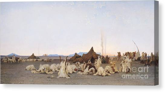 Sahara Desert Canvas Print - Evening Prayer In The Sahara by Gustave Guillaumet