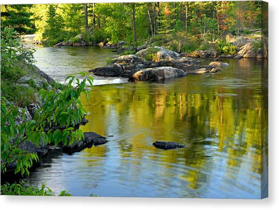 Evening Reflections At Lower Basswood Falls Canvas Print