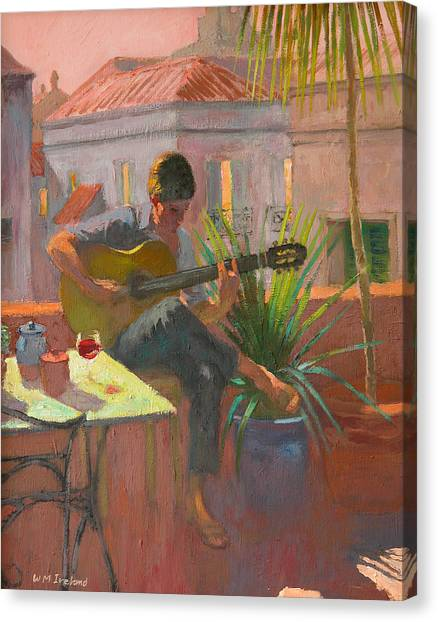 Acoustic Guitars Canvas Print - Evening Rooftop by William Ireland