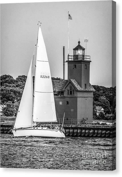 Evening Sail At Holland Light - Bw Canvas Print