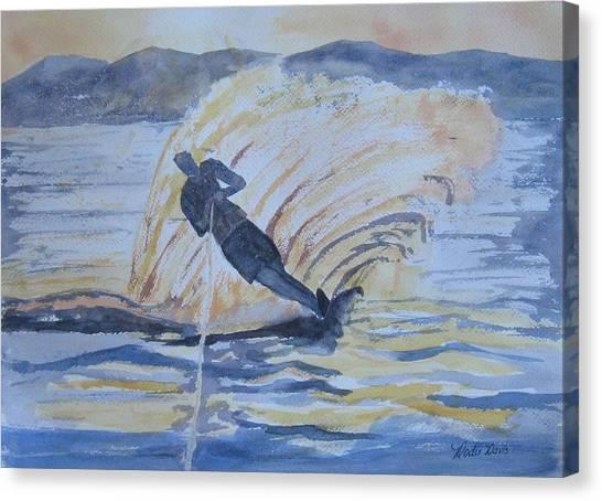 Water Skis Canvas Print - Evening Ski Run by Dodie Davis