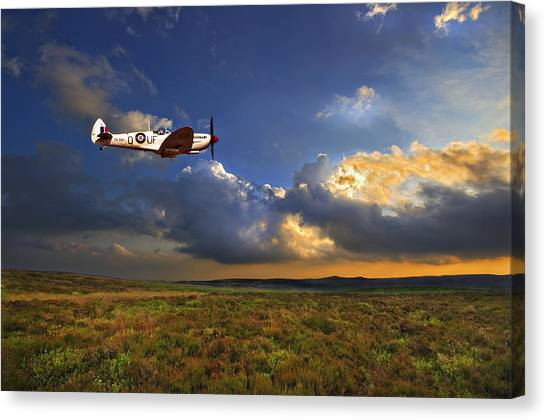 Sky Canvas Print - Evening Spitfire by Meirion Matthias