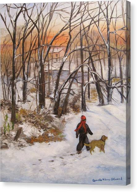 Evening Stroll Canvas Print by Aurelia Nieves-Callwood