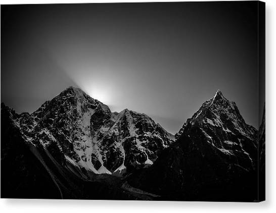 Canvas Print featuring the photograph Evening Sunbeams In Pheriche by Owen Weber