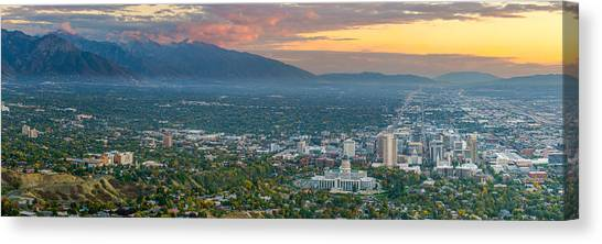 Evening View Of Salt Lake City From Ensign Peak Canvas Print