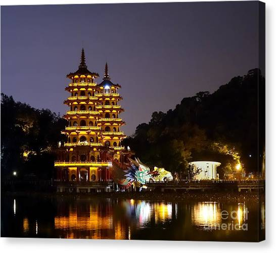 Evening View Of The Dragon And Tiger Pagodas In Taiwan Canvas Print