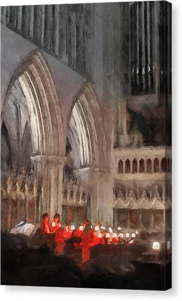 Canvas Print featuring the painting Evensong Practice At Wells Cathedral by Menega Sabidussi