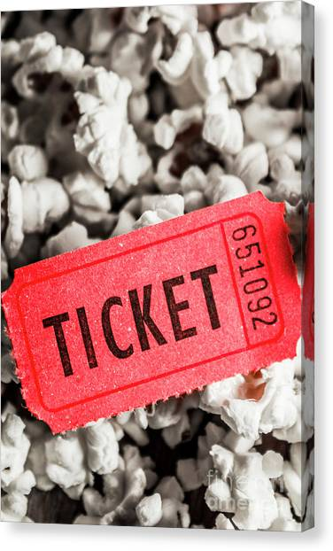 Popcorn Canvas Print - Event Ticket Lying On Pile Of Popcorn by Jorgo Photography - Wall Art Gallery