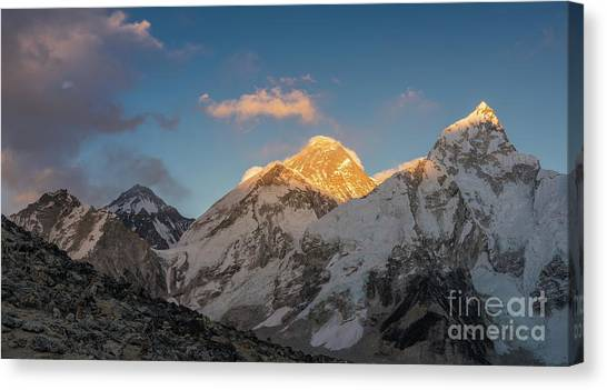 K2 Canvas Print - Everest And Lhotse Alpenglow Cloudscape by Mike Reid