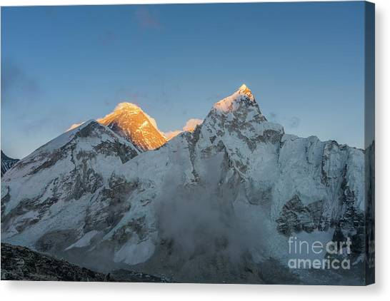 K2 Canvas Print - Everest And Lhotse Peaks Alpenglow by Mike Reid