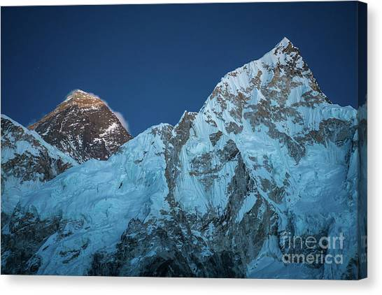 K2 Canvas Print - Everest And Lhotse Peaks by Mike Reid