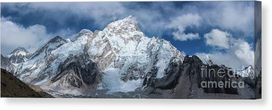 K2 Canvas Print - Everest Lhotse Pano As Everest Starts To Appear by Mike Reid