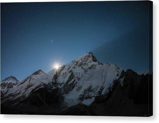 Canvas Print featuring the photograph Everest Supermoon by Owen Weber