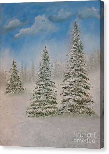 Evergreens In Snow  Canvas Print
