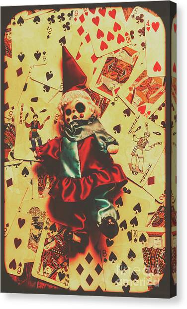 Royal Canvas Print - Evil Clown Doll On Playing Cards by Jorgo Photography - Wall Art Gallery