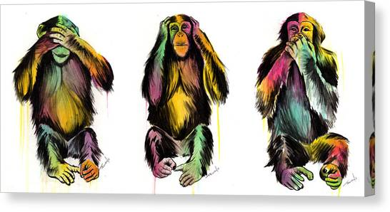 Monkeys Canvas Print - Evil Delux by Matt Truiano