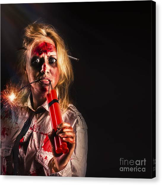 Outbreak Canvas Print - Evil Female Halloween Zombie Holding Bomb by Jorgo Photography - Wall Art Gallery