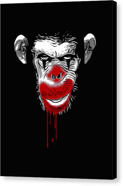 Primates Canvas Print - Evil Monkey Clown by Nicklas Gustafsson