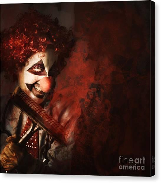 Clown Art Canvas Print - Evil Monster Clown Washing Splattered Glass by Jorgo Photography - Wall Art Gallery