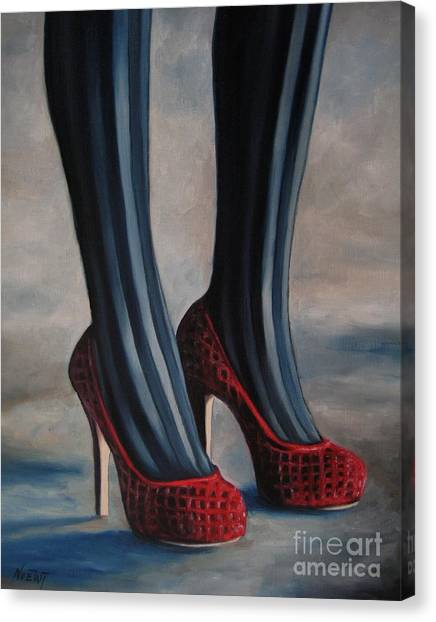 Resident Evil Canvas Print - Evil Shoes by Jindra Noewi
