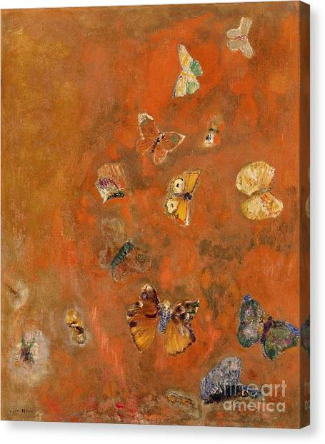 Orange Canvas Print - Evocation Of Butterflies by Odilon Redon