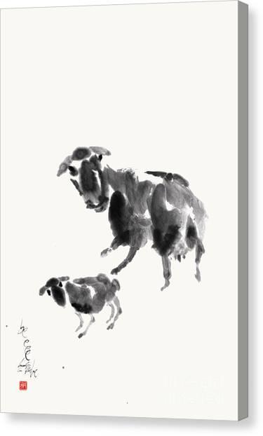 Ewe With Lamb  Canvas Print by Nadja Van Ghelue