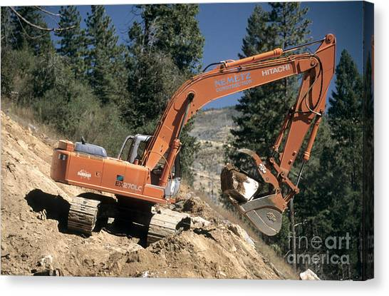 Backhoes Canvas Print - Excavator At Work by Inga Spence