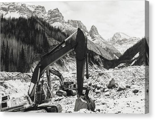 Canvas Print featuring the photograph Excavators by Fred Denner