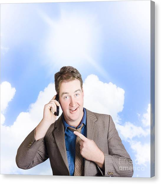 Normal Canvas Print - Excited Man On Mobile Phone. Yes Got The Job by Jorgo Photography - Wall Art Gallery